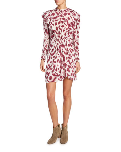 Yoana Printed Long-Sleeve Ruffle Dress
