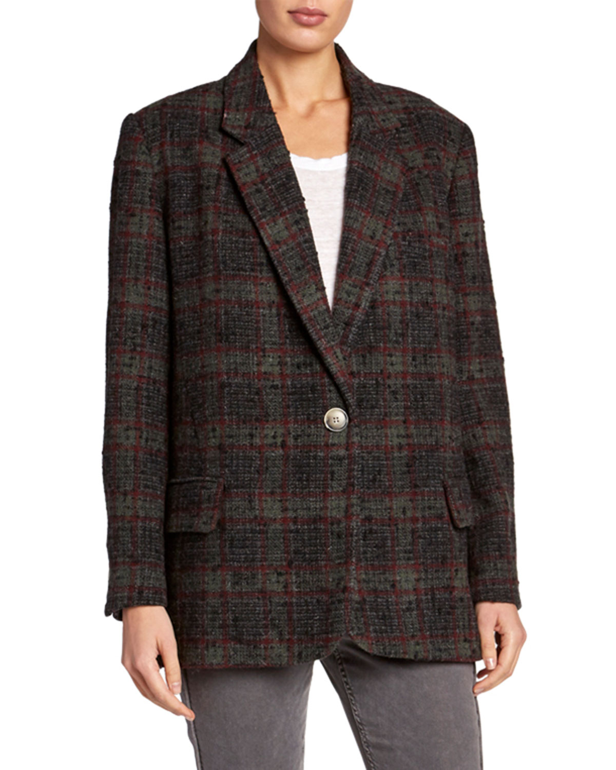 Etoile Isabel Marant Jackets KORIX SINGLE-BREASTED CHECK JACKET
