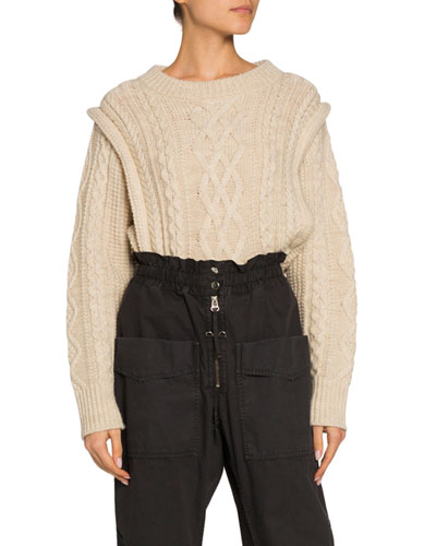Tayle Cable-Knit Crop Sweater