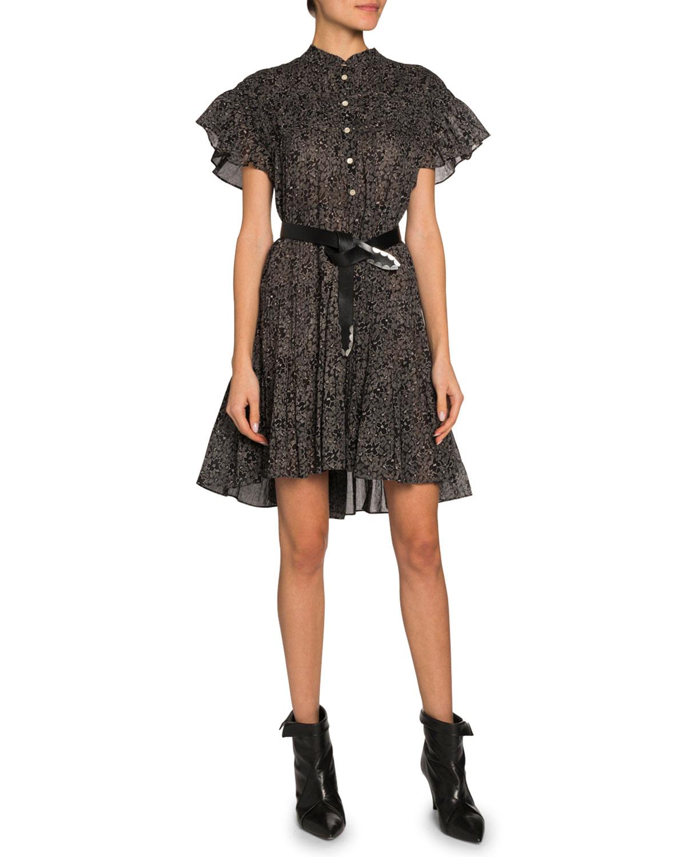 Etoile Isabel Marant Dresses LANIKAYE FLUTTER-SLEEVE BUTTON-FRONT DRESS