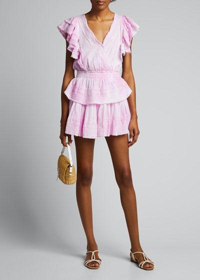 Gwen Flutter-Sleeve Lace Mini Dress