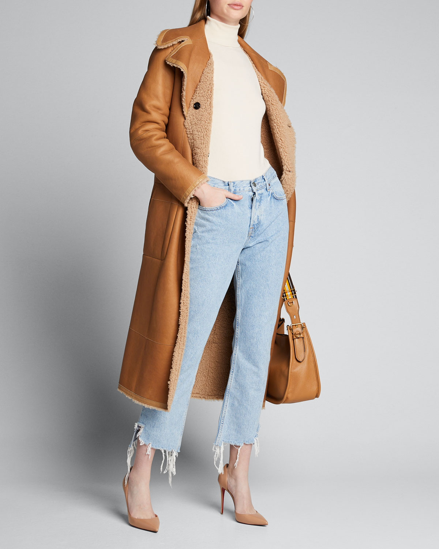 Grlfrnd Jeans TATUM CHEWED STRAIGHT-LEG CROPPED JEANS