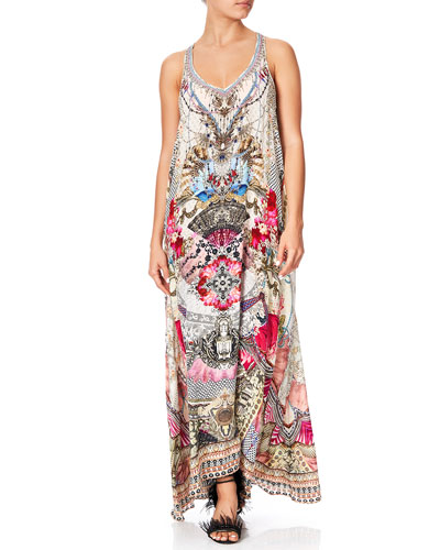 Printed V-Neck Racerback Long Dress