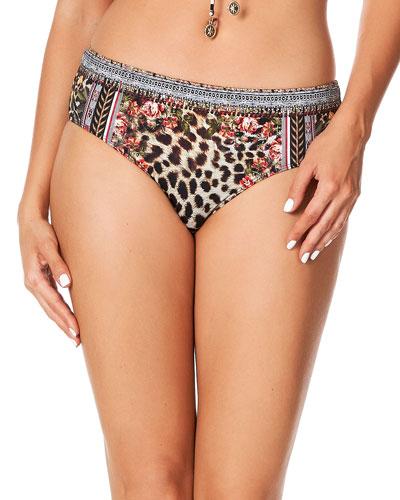 Printed Mid-Rise Hipster Bikini Bottom