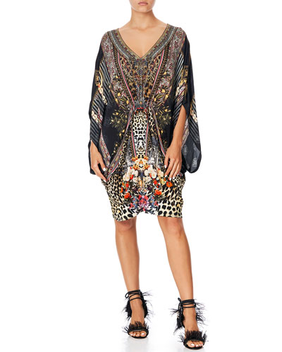 Bat-Sleeve Printed Dress w/ Gathered Waist