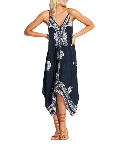 Geo Ditsy Scarf-Print Coverup Dress