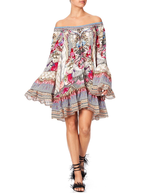 Camilla Dresses OFF-SHOULDER A-LINE PRINTED FRILL DRESS