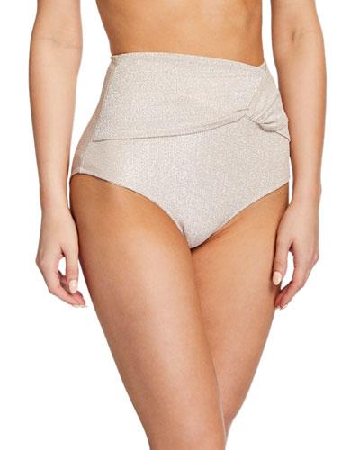 Metallic Twist-Front High-Waist Bikini Bottom