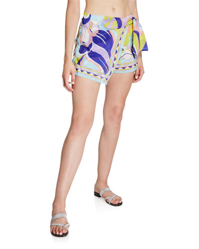 Printed Tie-Front Coverup Shorts