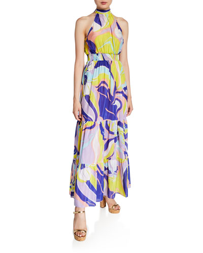 Printed High-Neck Tiered Maxi Dress