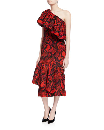 Heppy Snake-Print Midi Dress