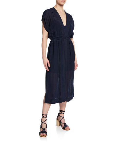 Amelie V-Neck Short-Sleeve Dress