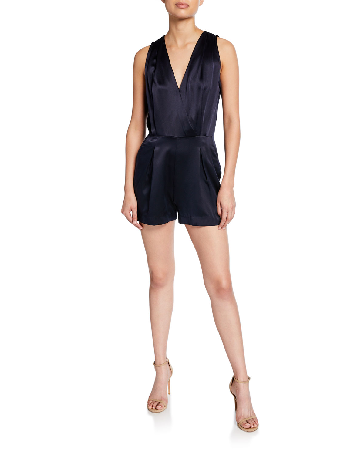 L'agence Tops MISHA V-NECK SILK CHARMEUSE SLEEVELESS ROMPER