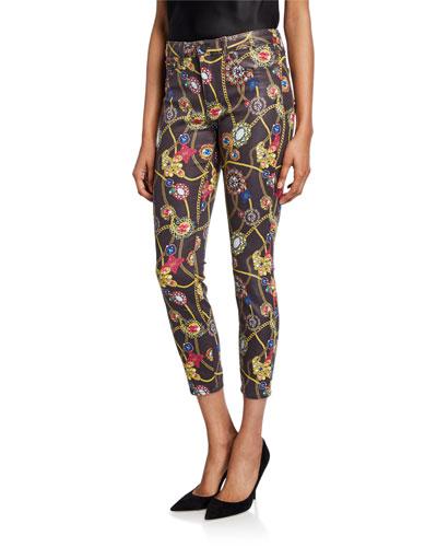 Margot Jewel-Print Cropped Skinny Jeans