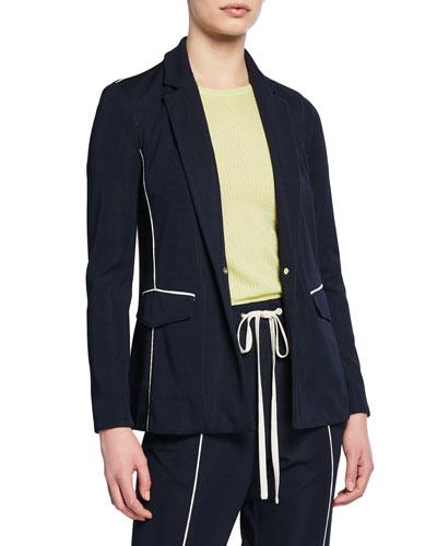 Sandrine One-Button Blazer w/ Contrast Piping