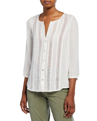 Faretta Button-Down Blouse with Lace