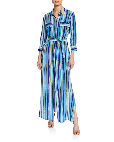 Cameron Striped Button-Front Long Silk Shirtdress