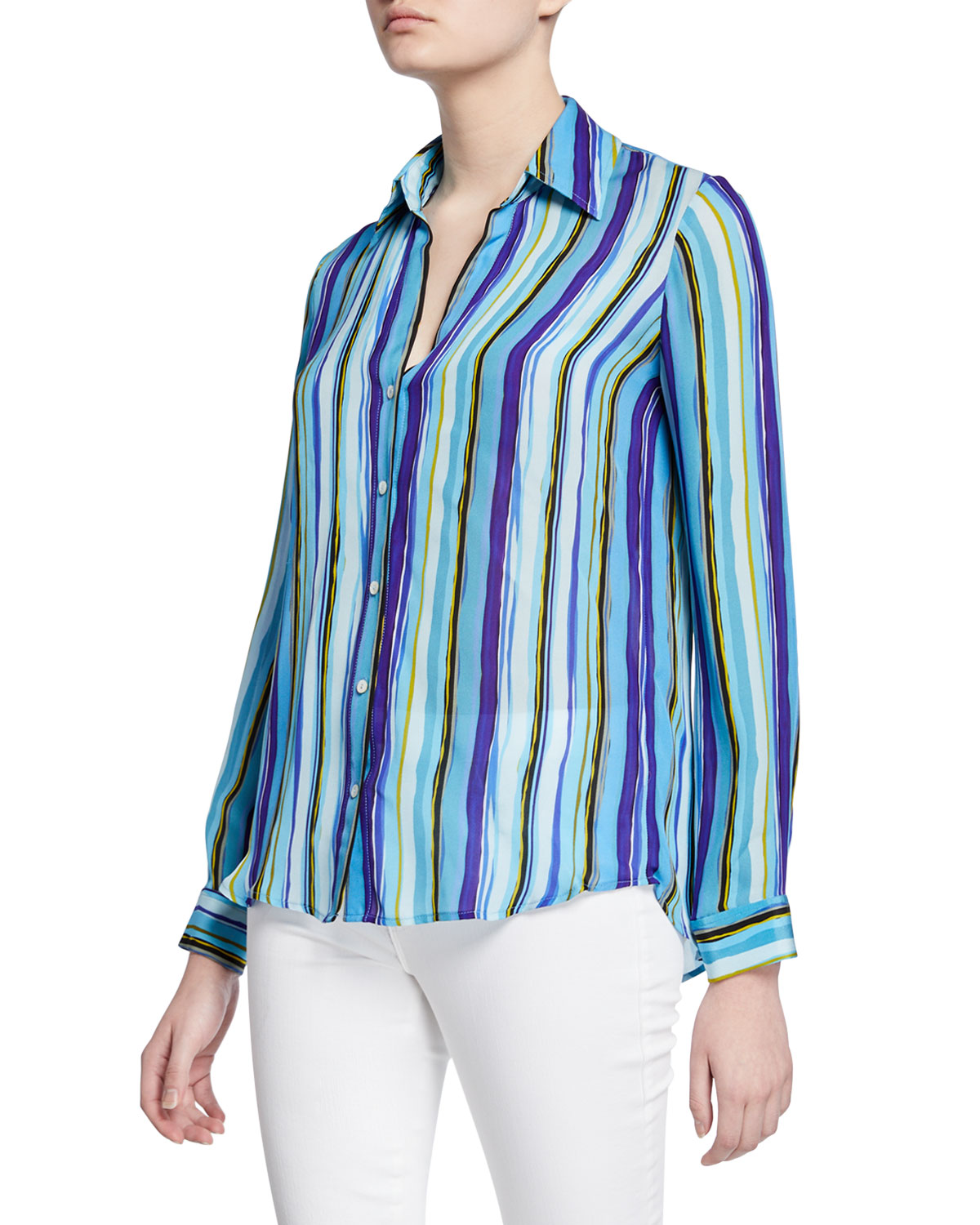 L'agence Tops NINA STRIPED LONG-SLEEVE BLOUSE