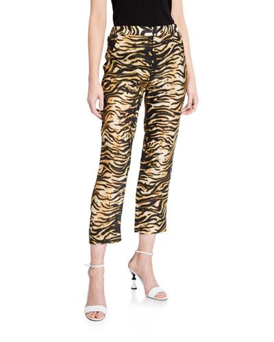 Council Tiger-Print Linen Pants