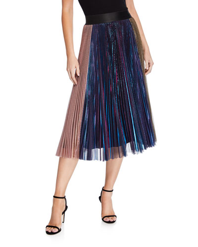 Romana Pleated Metallic Skirt