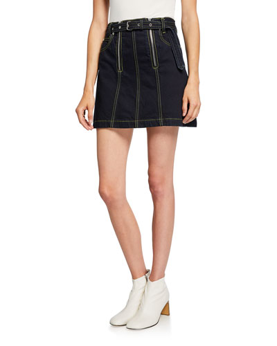 Front Zip Rigid Denim Belted Mini Skirt