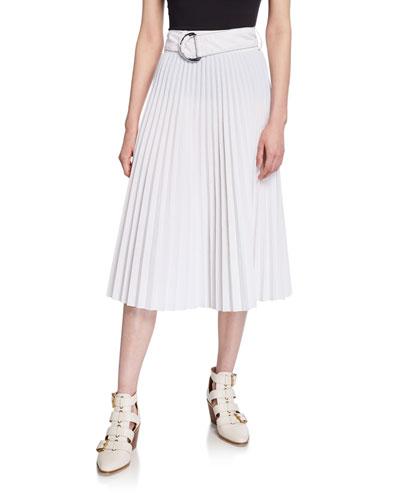 Parachute Belted Pleated Midi Skirt