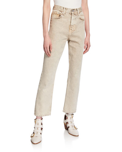 Cropped Straight-Leg Rigid Jeans