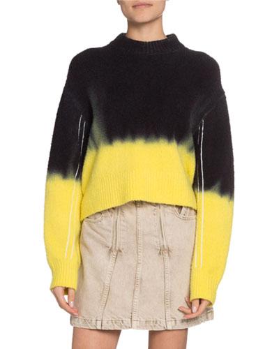 Dip-Dye Crewneck Crop Sweater