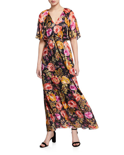 Noa Floral V-Neck Short-Sleeve Long Dress