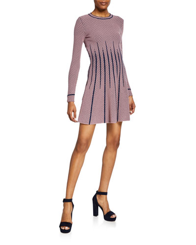 Long-Sleeve Mini A-Line Dress w/ Waist Detail