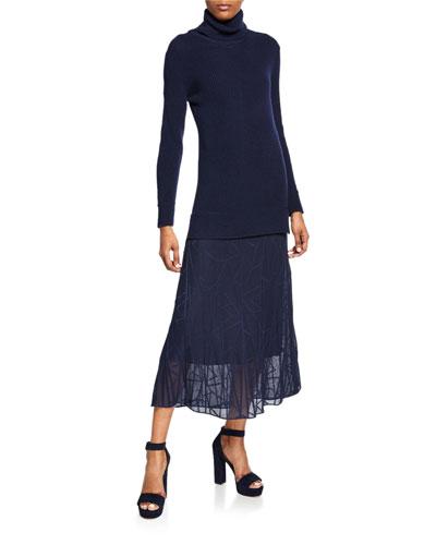 Long-Sleeve Turtleneck Maxi Dress with Sheer Skirt