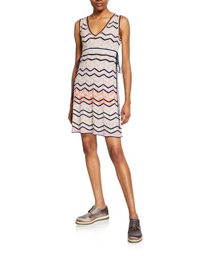 6e6b095f5d0 Made in Italy. Zigzag Stitch V-Neck Sleeveless Mini Dress Quick Look. M  Missoni