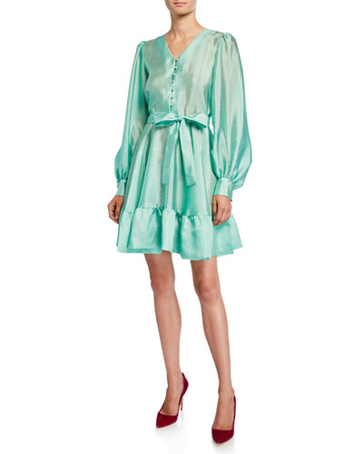 Farrow Button-Front Satin Tie-Waist Dress
