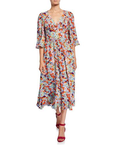 Evelyn Printed 3/4-Sleeve Midi Dress