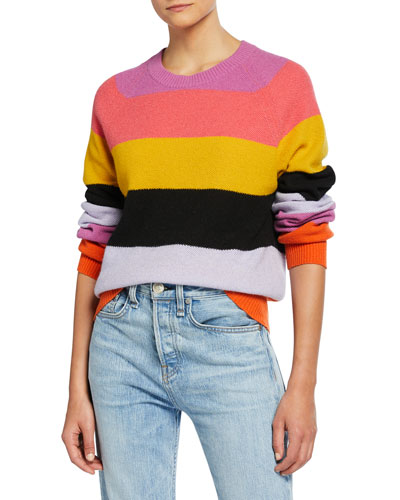 Magdalena Colorblock Striped Crewneck Sweater