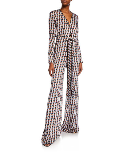 Yarra Printed Long-Sleeve Tie-Front Jumpsuit