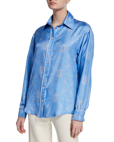 The Hang Ten Printed Button-Down Silk Shirt