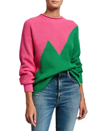 Cotton-Cashmere Zigzag Colorblock Sweater