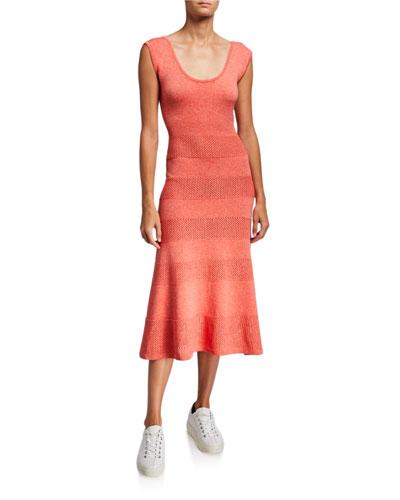 Short-Sleeve Pointelle Midi Dress