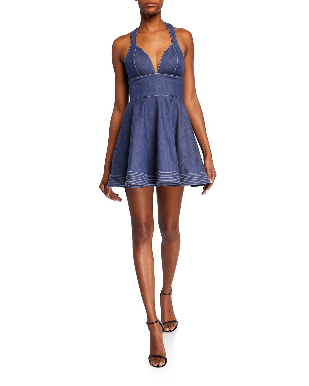 Alexis Dresses TARRANA HALTER FLOUNCE CHAMBRAY SHORT DRESS