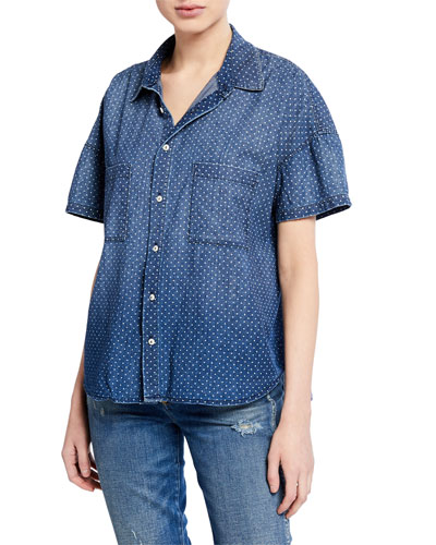 Dotted Button-Down Short-Sleeve Boxy Shirt