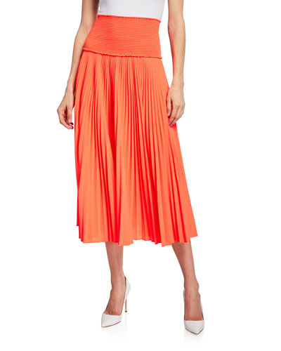 Hedrin Smocked Pleated Midi Skirt