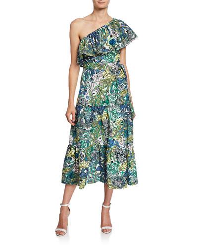 Janelle One-Shoulder Printed Midi Dress