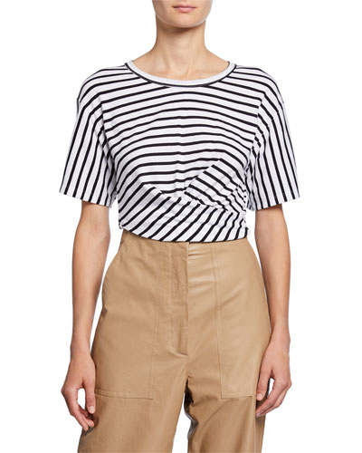 Jules Striped Short-Sleeve Tie-Back Crop Tee