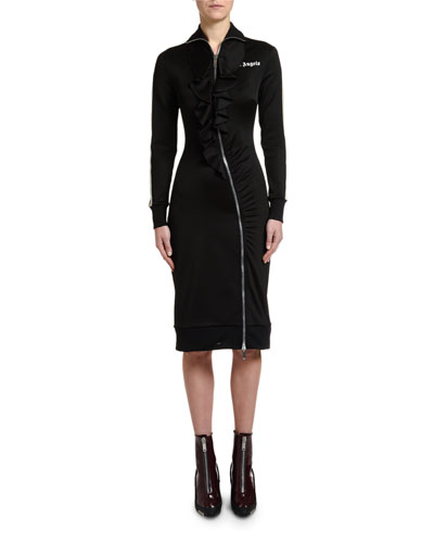 Rouches Zip-Front Track Dress