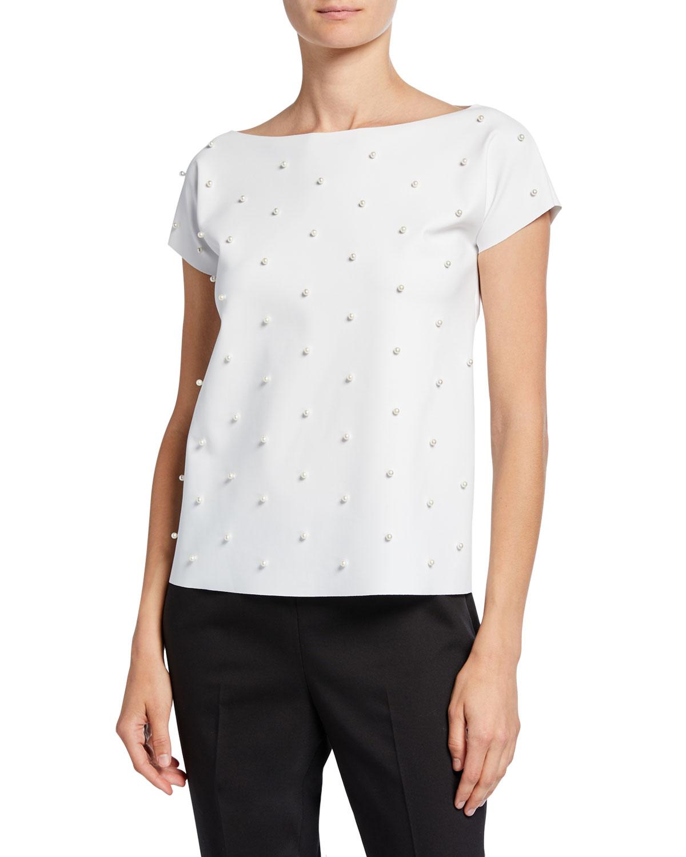 Chiara Boni La Petite Robe T-shirts ANNA SOFIA PEARLESCENT EMBELLISHED BOAT-NECK T-SHIRT