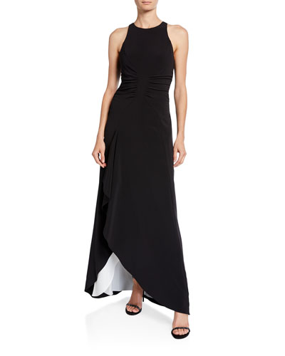 Sleeveless High-Neck Open Drape Gown with Ruching