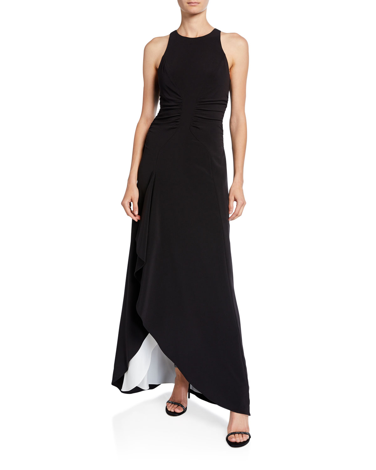 Halston Heritage Tops HIGH-NECK SLEEVELESS OPEN DRAPE GOWN WITH RUCHING