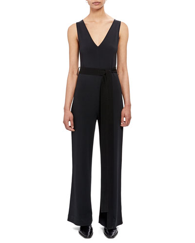 Sleeveless Knit Tie-Waist Jumpsuit