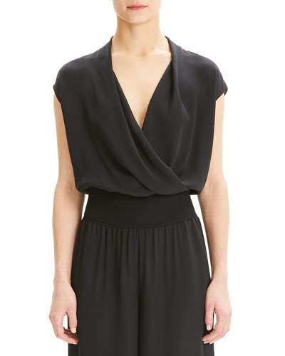Draped Silk Combo Top